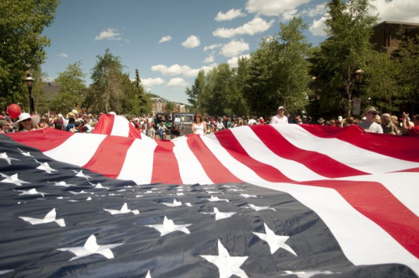 Breck July4 giant flag by Carl Scofield