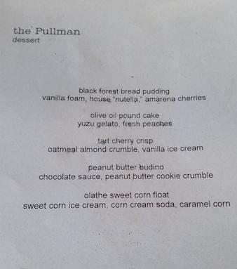 pullman menu