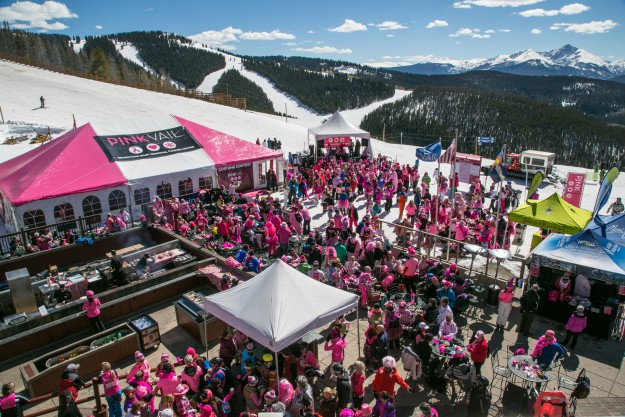 The patio of Eagle's Nest in Vail is inundated with pink during the 4th annual Pink Vail celebration on Saturday. Pink Vail is the world's biggest ski day to conquer cancer, raising money for local cancer treatment at the Shaw Regional Cancer Center in Edwards.