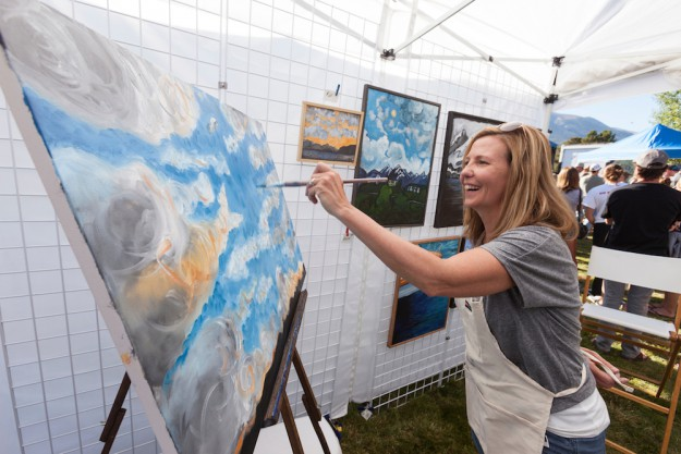 Painter Tess Scalise at Fallfest, Frisco, Colorado