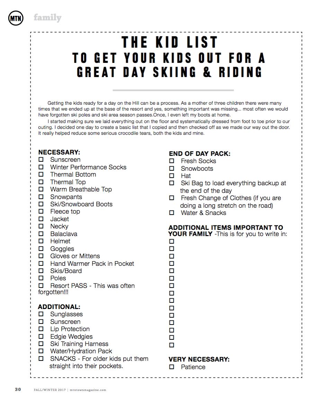 The MTN Town Magazine Ski Prep List for Your Kids