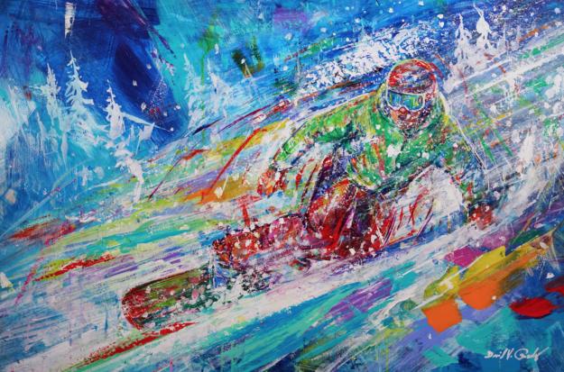 David V Gonzalez - Zipping through Pow, acrylic on panel 24